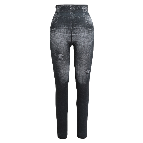 Mulheres Leggings Faux Denim Jeans Printed Skinny Trousers Casual Tights Stretch Slim Pencil Calças