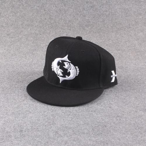 Nueva moda hombres mujeres Cap patrón bordado ojos vuelva plana gorro Baseball gorra Hip-Pop negro