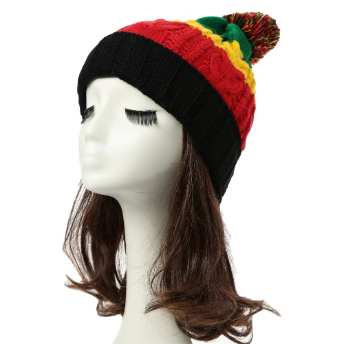 New Women Men Knitted Beanie Hat Contrast Stripe Splice Ribbed Brim Warm Dance Cap Headwear
