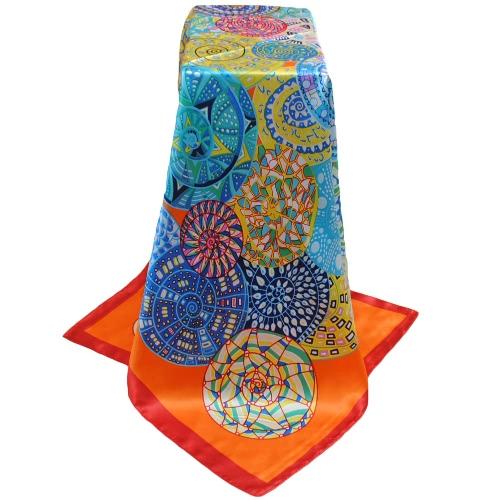 La nueva vendimia de las mujeres de la bufanda de contraste de impresión del diseño cuadrado del cruzado fino chal de raso pañuelo