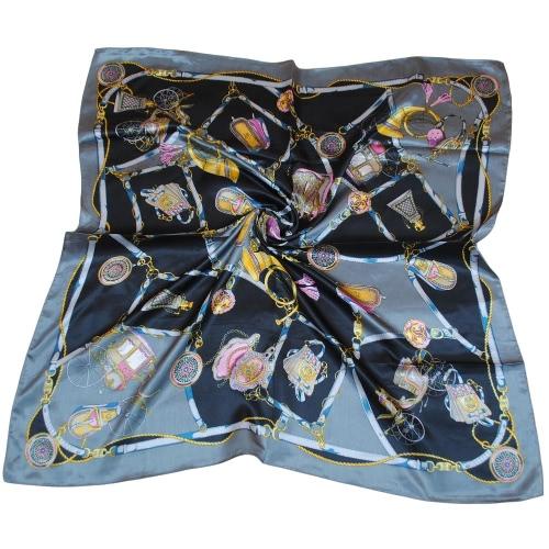 New Women Kerchief Square Scarf Contrast Print Elegant Thin Shawl Stain Scarves