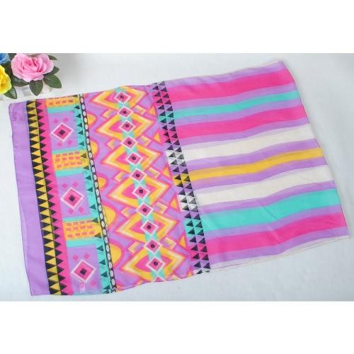 New Women Chiffon Scarf Geometric Floral Print Contrast Long Thin Pashmina Silk Shawl
