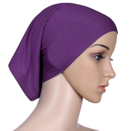 Nueva Moda hijab del turbante islámico capo underscarf Tapa Interna tubo de color sólido del sombrero Headwear elástico