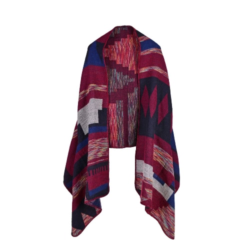 Vintage mujeres falso cachemira de punto poncho chaqueta de punto sudor