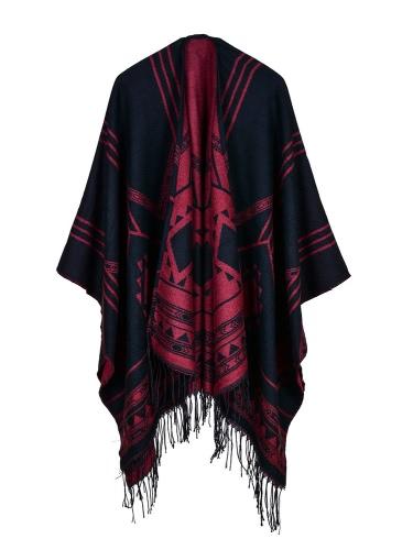 Moda mujer Poncho Cardigan Sweater geométrico borlas Fringed Faux Cashmere