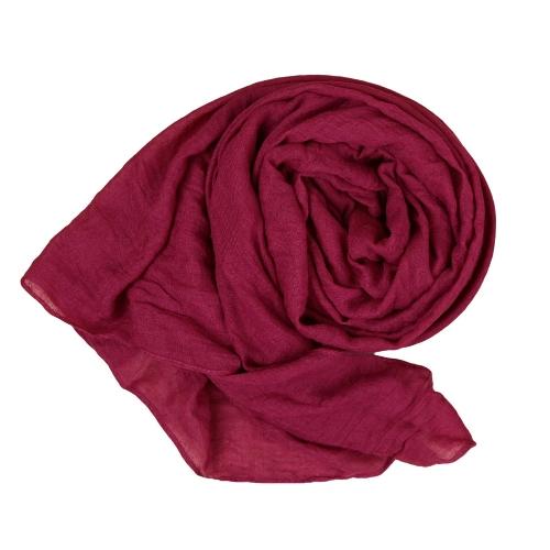 Color sólido lino algodón nacional largo chal Pashmina bufanda de la nueva moda mujer