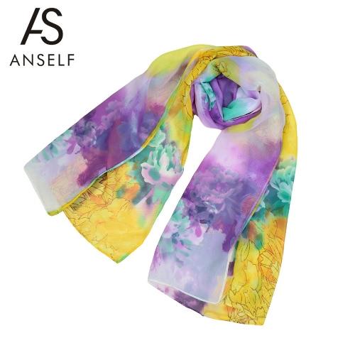 Nova moda mulheres cachecol Pashmina de outono do Chiffon Floral Print cor bloco Soft longa Primavera