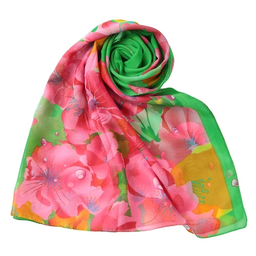 New Mulheres Chiffon Scarf Contrast floral Cor impressão coloridos longo xale Pashmina