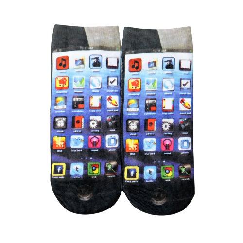 La nueva manera de las mujeres Calcetines linda impresión escotado tobillo calcetines respirables ocasionales elásticos