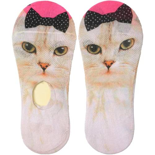 Las nuevas mujeres escotados ocasionales de los calcetines precioso estampado de animales transpirable antideslizante de diseño si no se presenta Liner calcetines invisibles