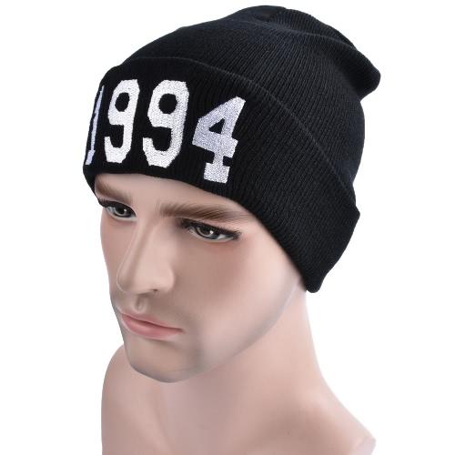 Unisex Mujer Hombres Sombrero de punto Contraste Letters Ribbed Slouchy Baggy Hip Hop Cool invierno caliente Kullies Beanies