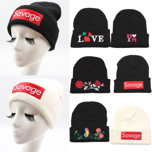 Women Men Rose Embroidery Savage Beanie Hats Embroidered Flower Knitted Caps Warm Outdoors Skullies Caps