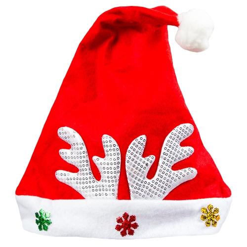 Chapéu de Natal dos miúdos adultos Chapéu de Papai Noel Chapéu da festa de família do floco de neve do Antler Ornamentos da decoração do feriado