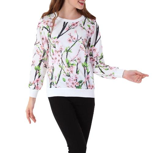 Neue Mode Frauen Hoodie Print Langarm O Hals lässig lockeren Sweatshirt Pullover Sportbekleidung Tops