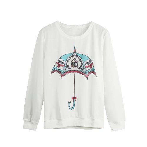 Nowe mody Kobiety Hoody Bluza Drukuj z długim rękawem Koszulka Casual Luźny Sweter z kapturem Bluzka Bluzki
