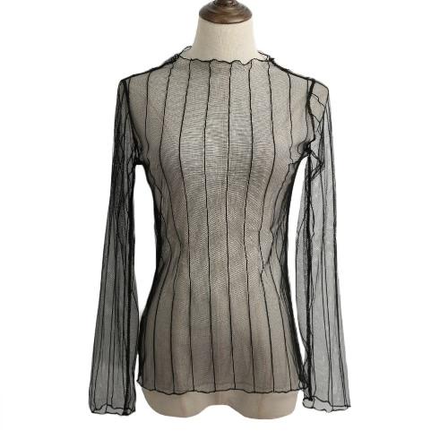 Le nuove donne sexy pura della maglia aderente Top sottile pizzo a maniche lunghe Pullover elegante camicetta nera