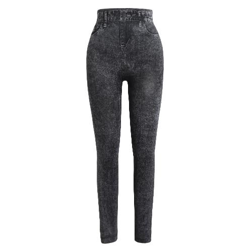 Leggings para mujer Pantalones vaqueros de imitación jeans Pantalones flacos impresos Pantalones largos para estiramiento Slim
