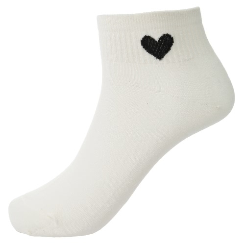 New Fashion Women Socks Solid Color Heart Low Cut Breathable Stretchy Casual Ankle Socks