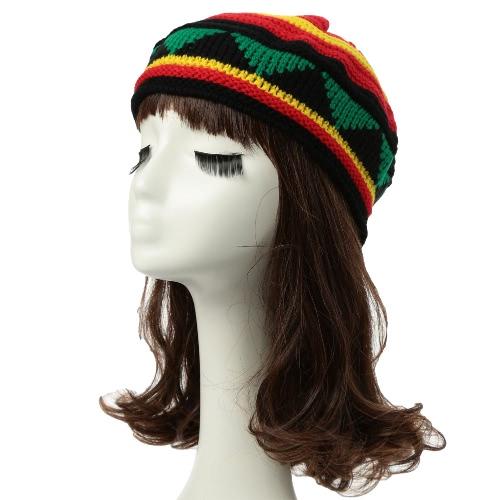 Las nuevas mujeres de los hombres de punto Beanie sombrero de rayas en contraste empalme acanalado ala Calentar la danza del casquillo de Headwear