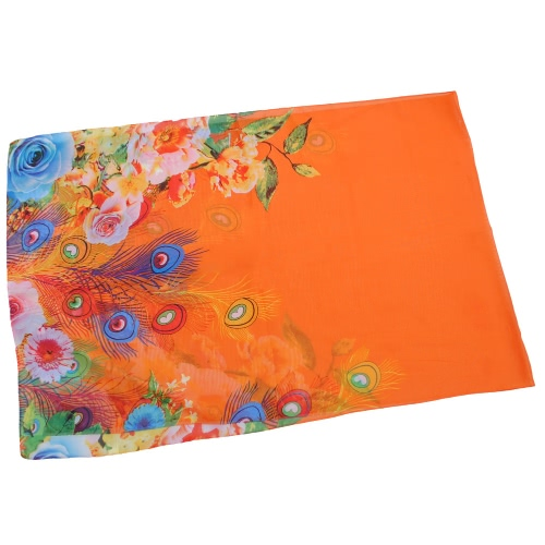 Kobiety Moda Chiffon Scarf Feather Floral Print Kontrast Kolor Plaża Cienki długi szal Pashmina