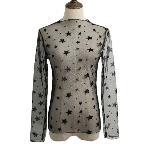 Las nuevas mujeres atractivas de malla transparente bodycon superior delgada del cordón de manga larga Suéteres blusa elegante Negro