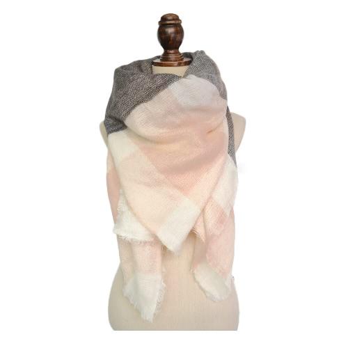 Le nuove donne Sciarpa quadrata Faux Cashmere Pashmina Contrasto colori plaid nappe Vintage Scialle