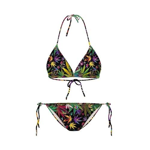 Sexy Starry Night Galaxy Print Halterneck Two Piece Swimwear Swimsuits Bikini