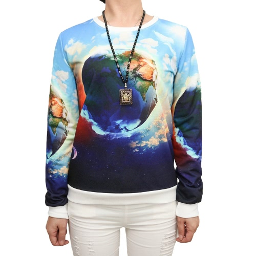 New Casual Women Pullover Special Print Round Neck Long Sleeve Tee Tops Sport Sweatshirt