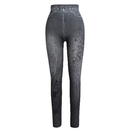 Women Leggings Faux Denim Jeans Printed Skinny Trousers Casual Tights Stretch Slim Pencil Pants