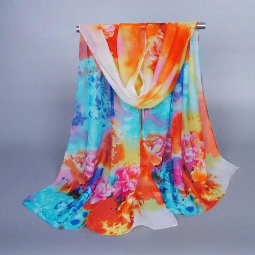 Nueva moda mujer la bufanda de Pashmina de Gasa Floral Print Color bloque suave larga primavera otoño