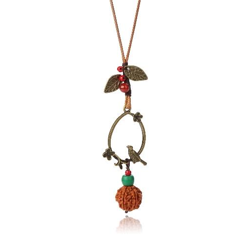 Las mujeres de la aleación de la vendimia del pájaro de la hoja de Bodhi collar de semillas de bolas colgantes de Bohemia Cuerda Larga cadena de la joyería del collar del suéter