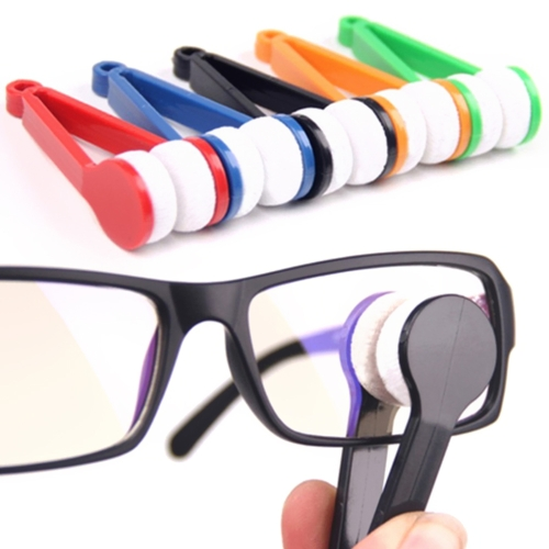 Portable Glasses Wipe Mini Sunglasses Microfiber Spectacles Cleaner Soft Brush Cleaning Tool