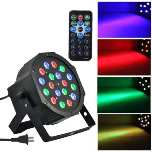 18-LED Red & Green & Blue Light Управление голосом Parcan Projector Lamp с пультом дистанционного управления Black