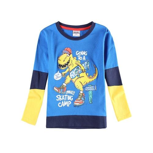 Neue Boys Kids T-Shirt Top Cotton Cartoon Print Color Block Splice O Hals Langarm hübsch lässig Kinder blau