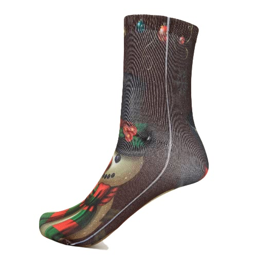Forme a mujeres los calcetines de Navidad del muñeco de Santa Claus regalo ocasional Medias festiva impresos calcetines de algodón