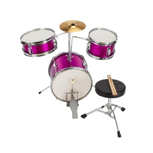 """13 """"x8"""" 3-teilig Junior Kids Kind Schlagzeug Kit Pedal Drum Stick Schraubenschlüssel Drum Hocker Lila Rot"""