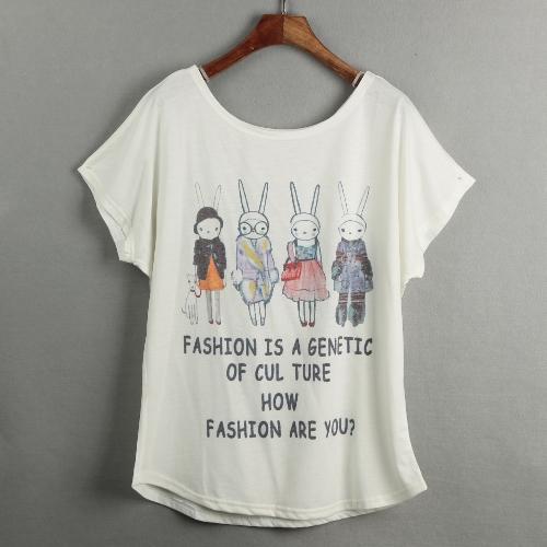 Nueva camiseta de las mujeres de impresión especial de la corto alas de murciélago mangas sudadera flojamente ocasional más top de la blusa