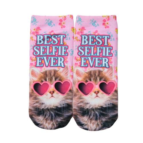 La nueva manera calcetines de las mujeres de la historieta linda impresión escotado tobillo calcetines respirables ocasionales elásticos