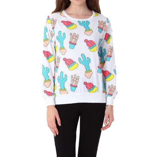 Nueva moda mujeres Print con capucha manga larga O cuello Casual buzo suelto suéter ropa deportiva Tops