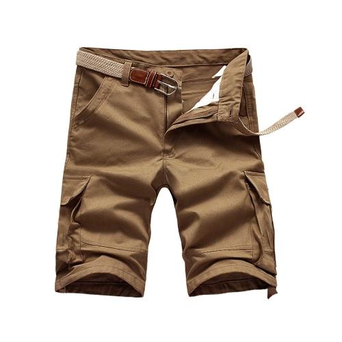 Verano hombres Cargo Shorts Multi-bolsillos Casual militar del ejército estilo de trabajo suelta no pantalones cinturón