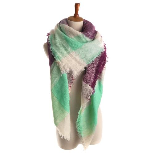 Las nuevas mujeres de la bufanda de imitación de la plaza de la cachemira de Pashmina del color del contraste de las telas escocesas de las borlas del mantón de la vendimia