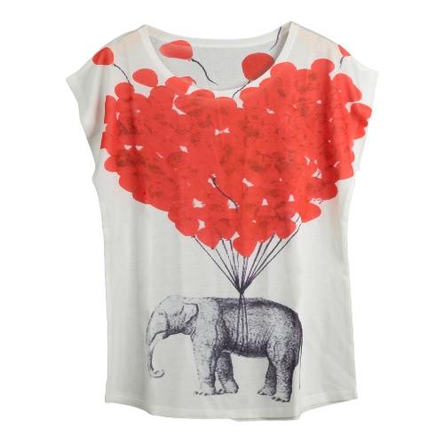 Neue Frauen-T-Shirt Sonderdruck O-Ansatz mit kurzen Ärmeln Pullover lose beiläufige T-Fashion Top