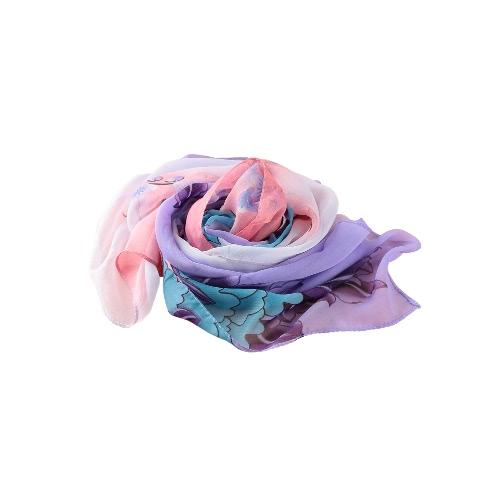 Mujeres gasa bufanda chal pájaro pañuelo suave Vintage con estampado Floral bufandas largas Pashmina fina