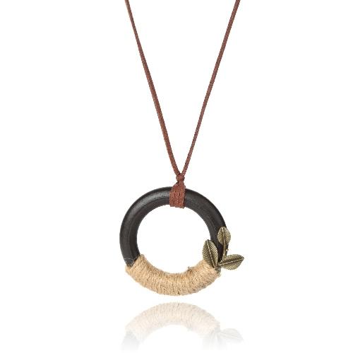 Colar Mulheres New Vintage Círculo de madeira Folha Pingentes Bohemia Long corda camisola cadeia colar de jóias