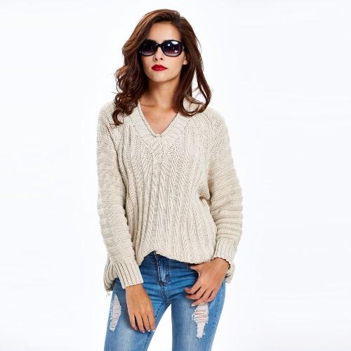 Nowe mody Kobiety Kabel sweter z dzianiny z litego żebrowane V Neck Raglan rękawem Casual Jumper Różowy / khaki / czarny