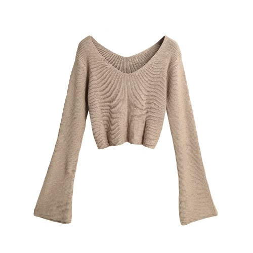 New Mulheres Winter camisola de malha cor sólida V Long Neck alargamento do pulôver da luva Casual Tops Knitwear Branco / Café