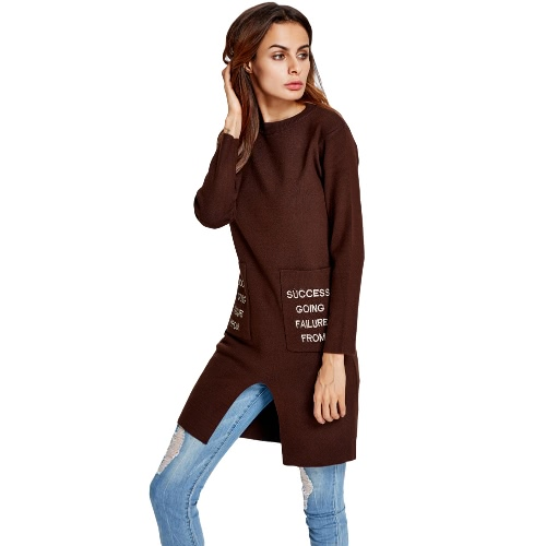 New Fashion Women Knitted Sweater Letter Print Split O-Neck Long Sleeves Pullover Knitwear Top