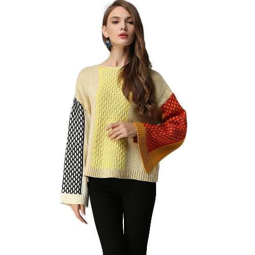 Suéter de mujer elegante Color Block Twisted Stripe Splits Dropped Shoulder Manga larga Loose Knit Pullover Plus Size Knitwear