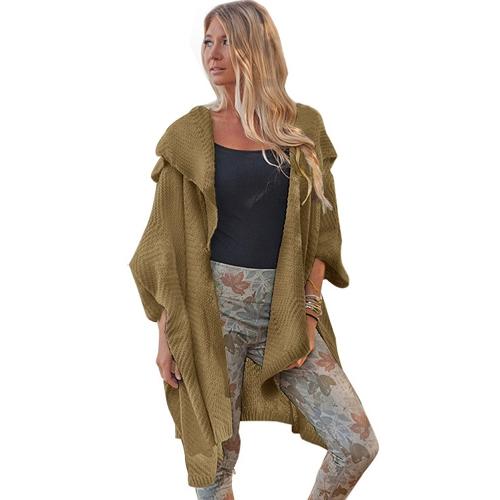 Cardigan aperto maglione cardigan aperto davanti manica a pipistrello solido spaccato cappotto di capispalla lavorato a maglia casual