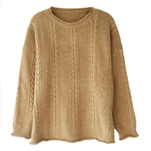 Nuevo jersey de punto suelto de mujer con cuello en O de manga larga jersey suelto cálido Top de punto